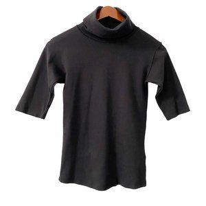 Free People Black Turtleneck Half Sleeve Top Small
